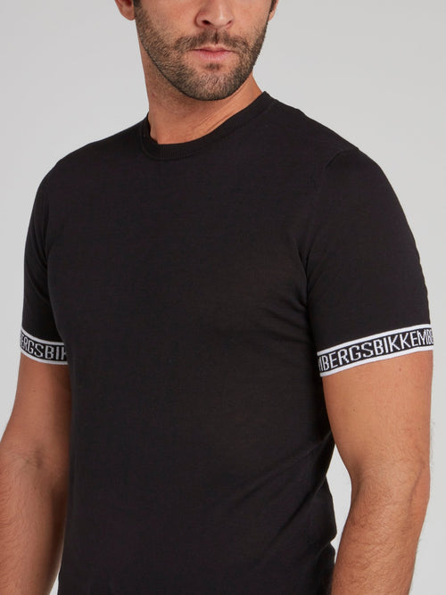 Black Logo Tape Knitted T-Shirt
