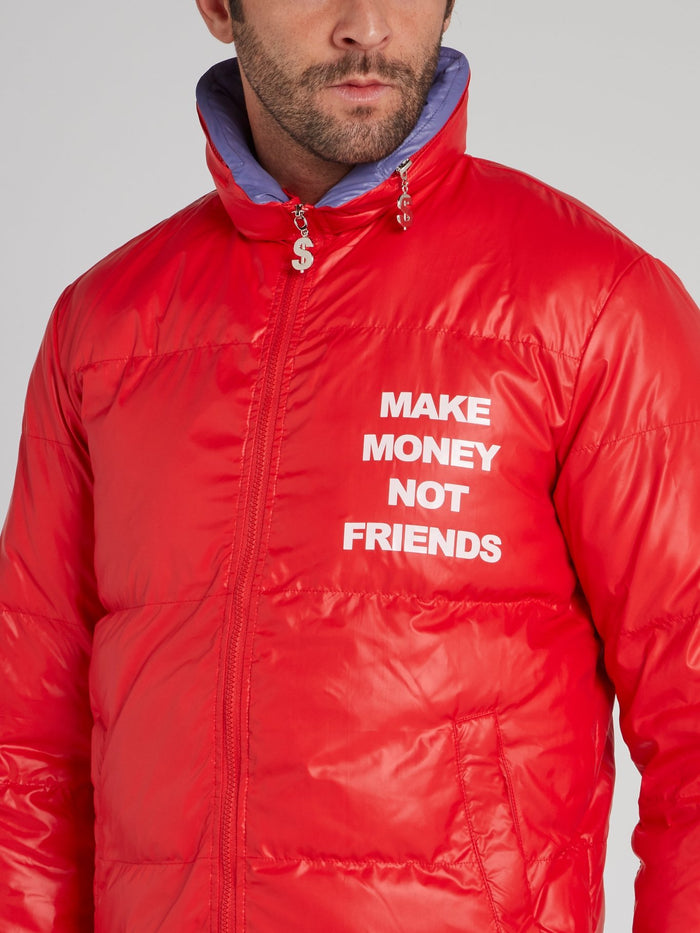 Red High Neck Logo Puffer Jacket