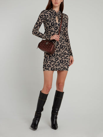 Leopard Print Keyhole Sheath Dress