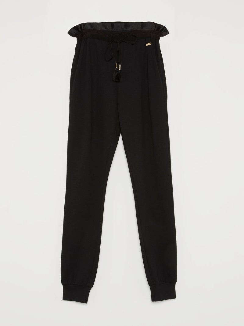 Black Tassel Detail Drawstring Trousers