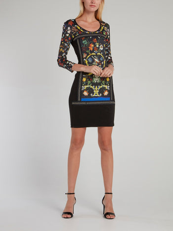 Black Floral Baroque Print Mini Dress