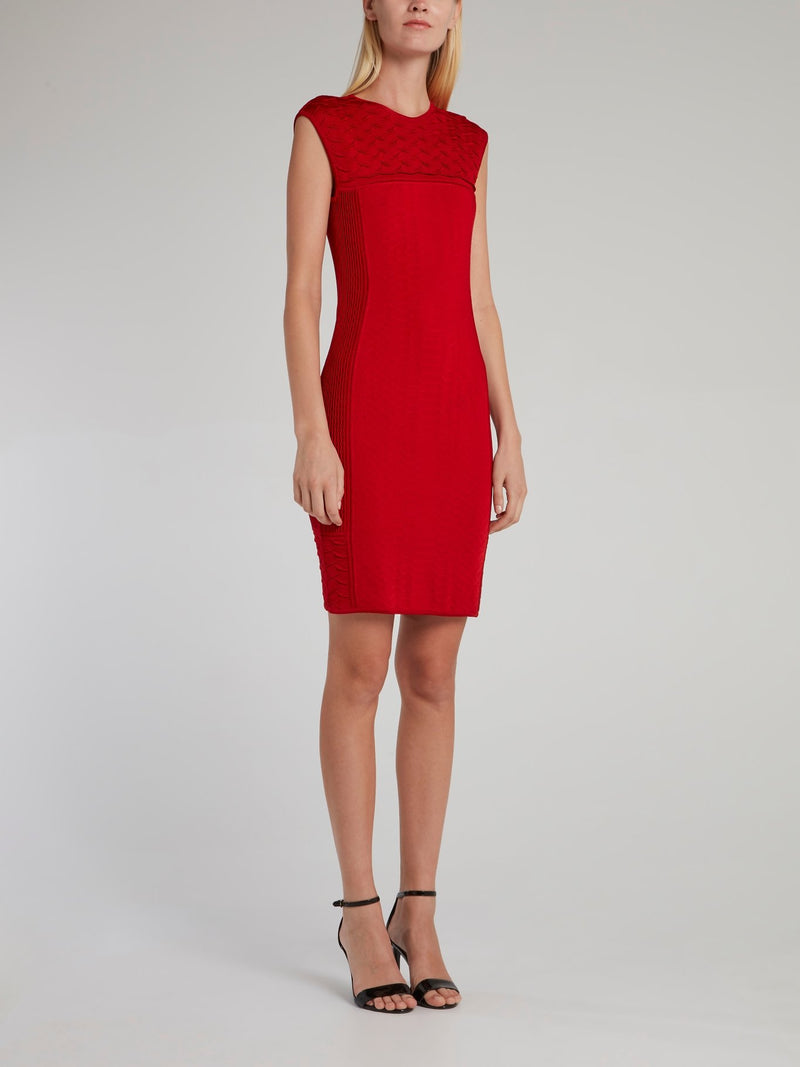 Red Crewneck Bodycon Dress