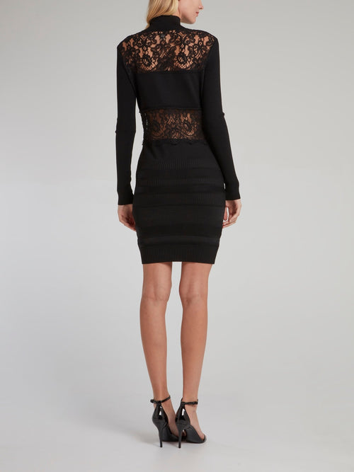 Black Lace Panel Turtleneck Dress
