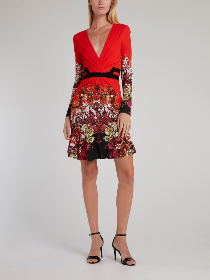 Red Floral Baroque Surplice Dress