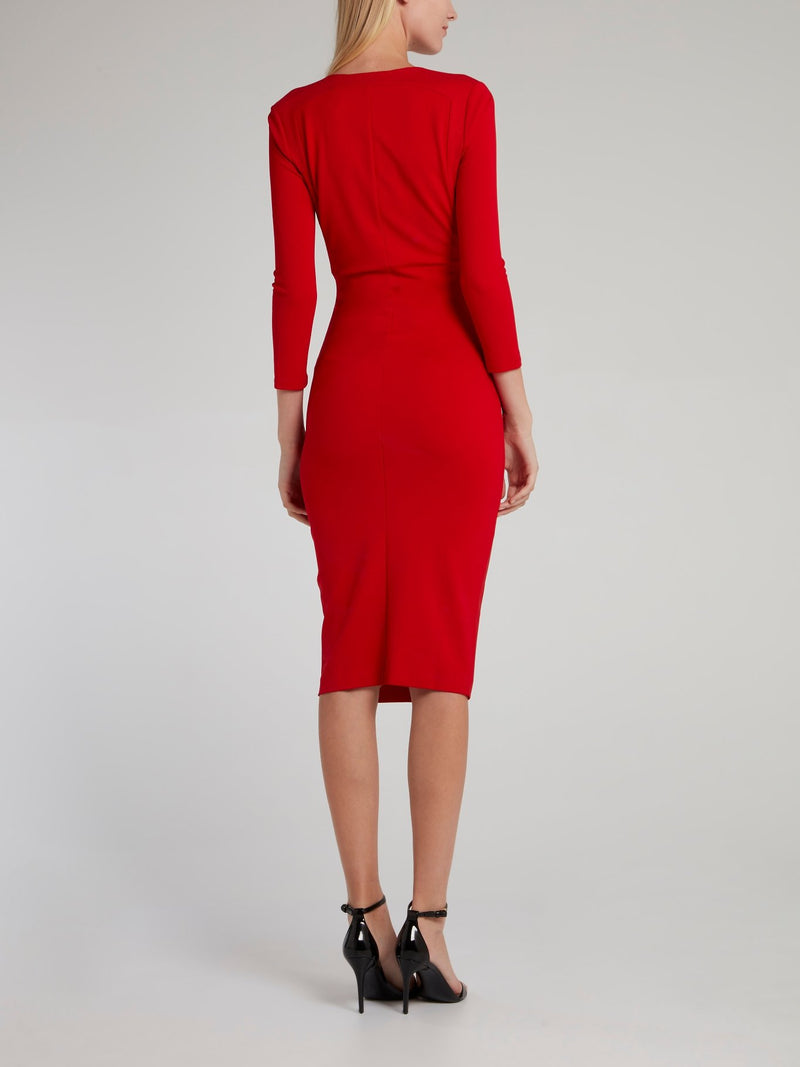 Red Embellished Surplice Midi Dress