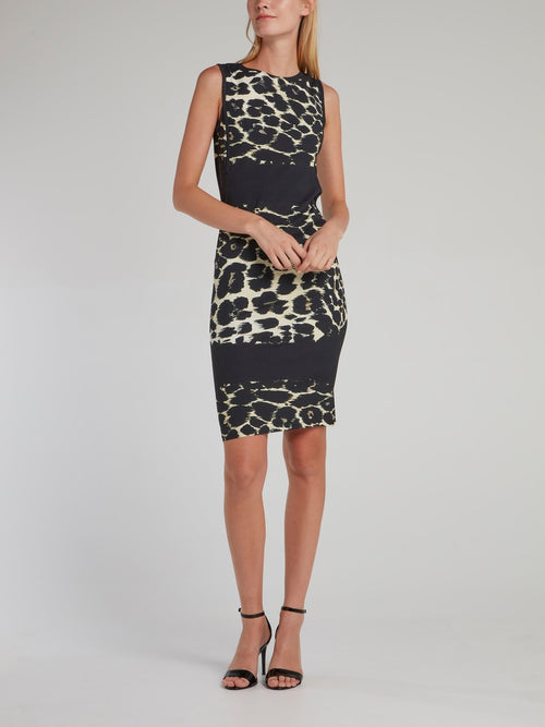 Black Leopard Effect Sheath Dress