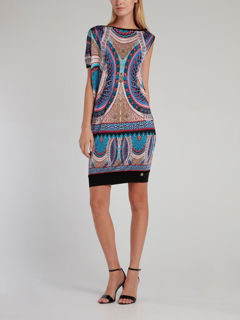 Pattern Print Bateau Mini Dress