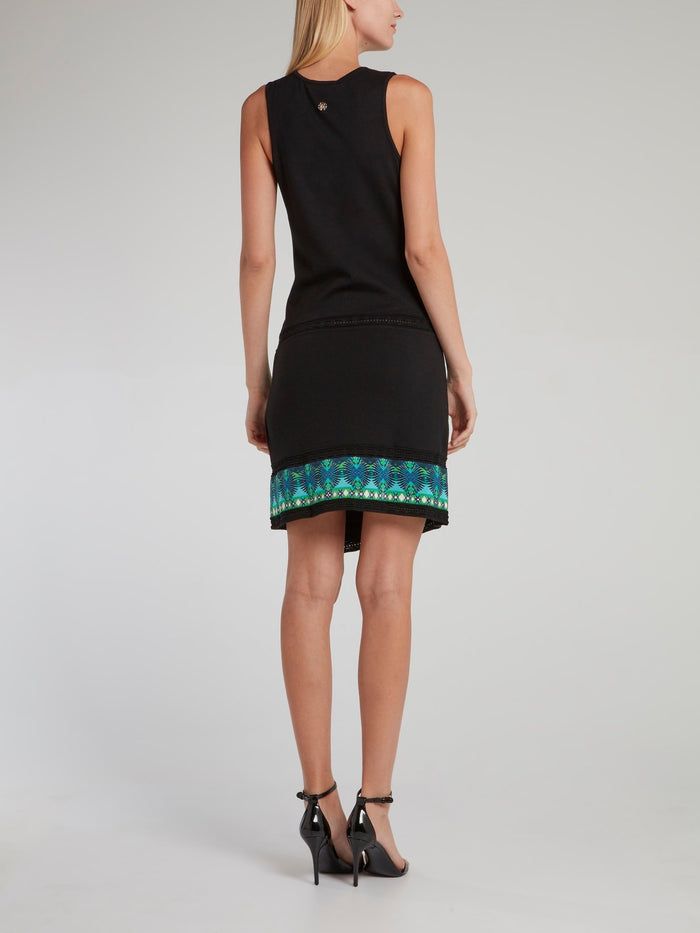 Black Hem Print Wrap Dress