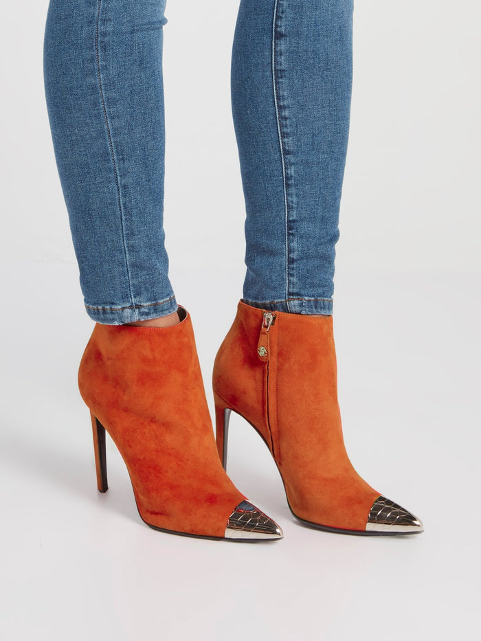 Orange Suede Ankle Boots