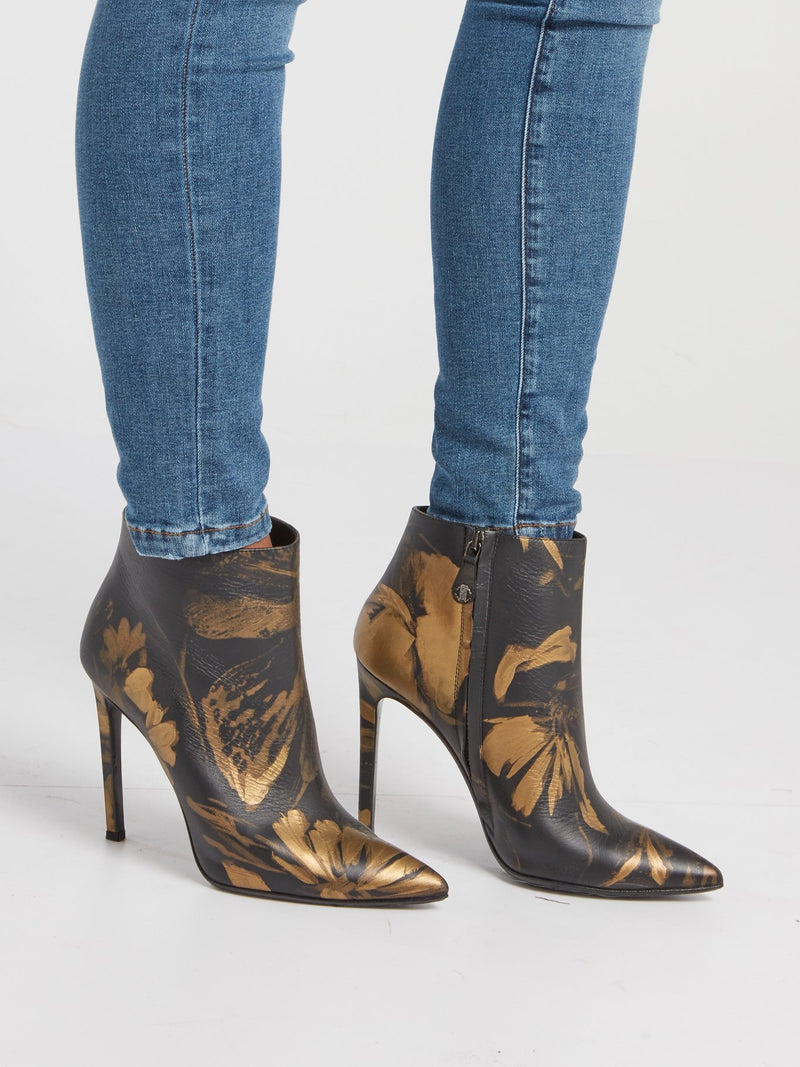 Gold Floral Paint Leather Ankle Boots