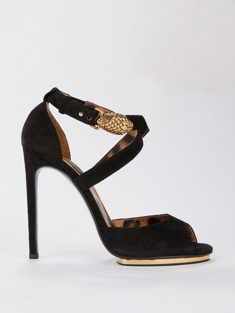 Black Leopard Panel Suede Sandals