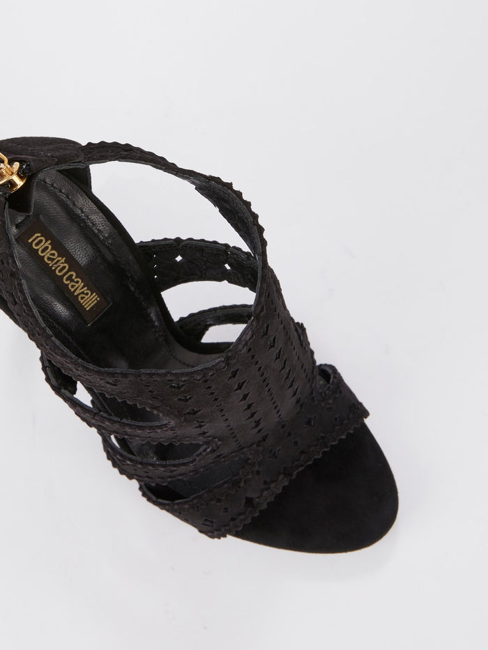 Black Perforated Cage Sandals