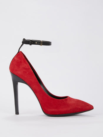 Red Ankle Strap Suede Pumps
