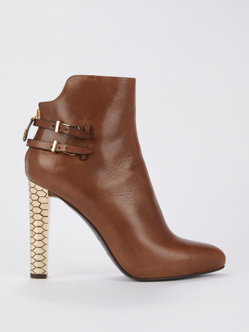 Brown with Gold Heel Leather Ankle Boots
