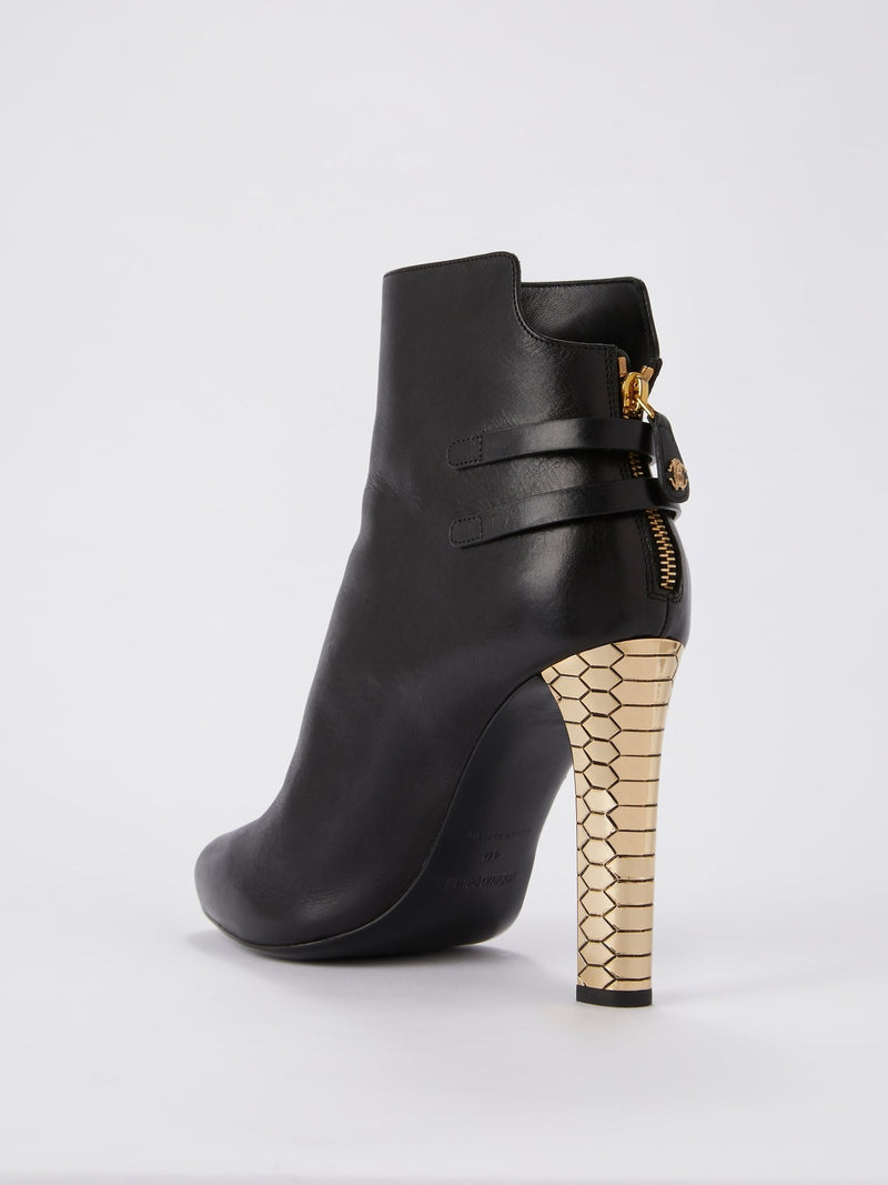 Black with Gold Heel Leather Ankle Boots