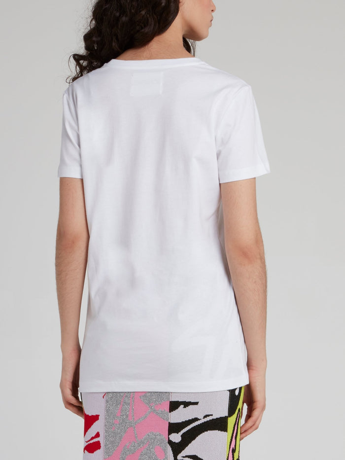White Sequin Lip T-Shirt