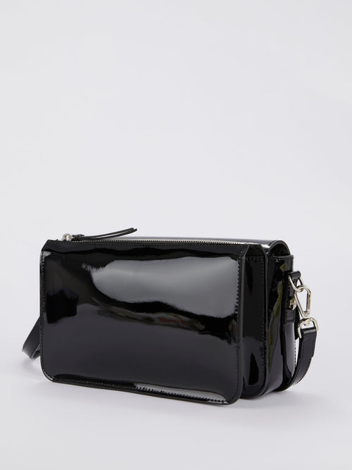 Black Front Flap Logo Shoulder Bag