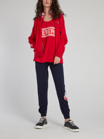 Red Stripe High Neck Sweatshirt