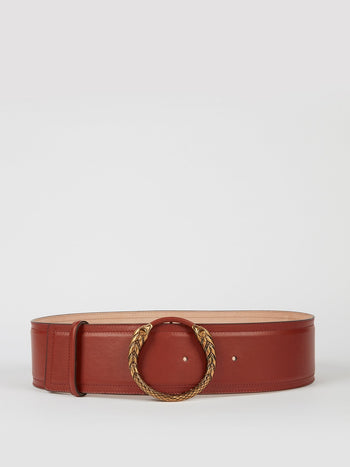 Snake Buckle Brown Leather Belt
