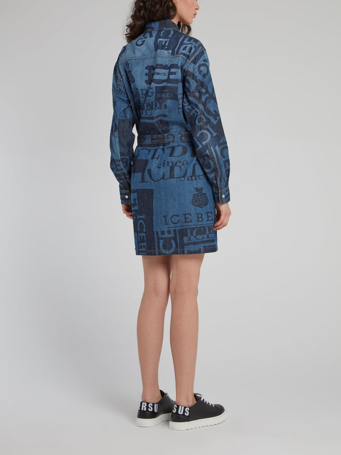 Logo Denim Shirt Dress