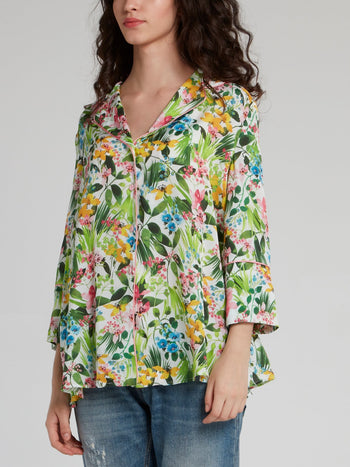 Tropical Print Flounce Shirt