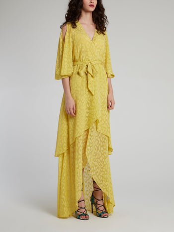 Yellow Leopard Print High-Low Maxi Dress