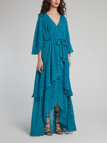 Blue Leopard Print High-Low Maxi Dress