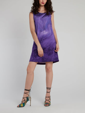 Purple Python Shift Mini Dress