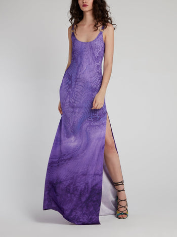 Purple Python Slit Maxi Dress