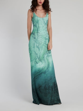 Green Python Scoop Maxi Dress