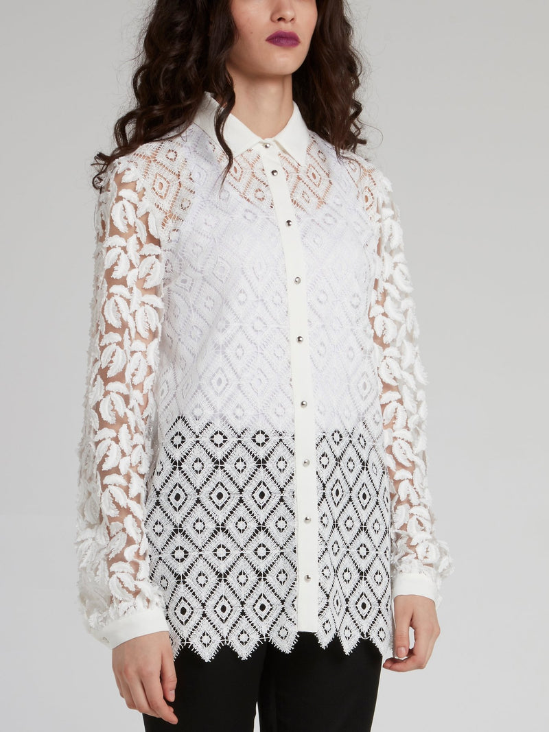 White Lace Mesh Button Up Shirt