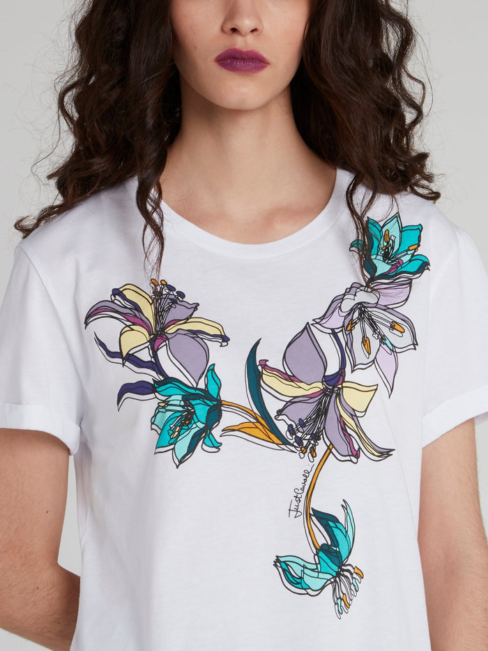 White Floral Sketch T-Shirt