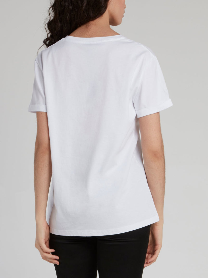 White Abstract Print Crewneck T-Shirt