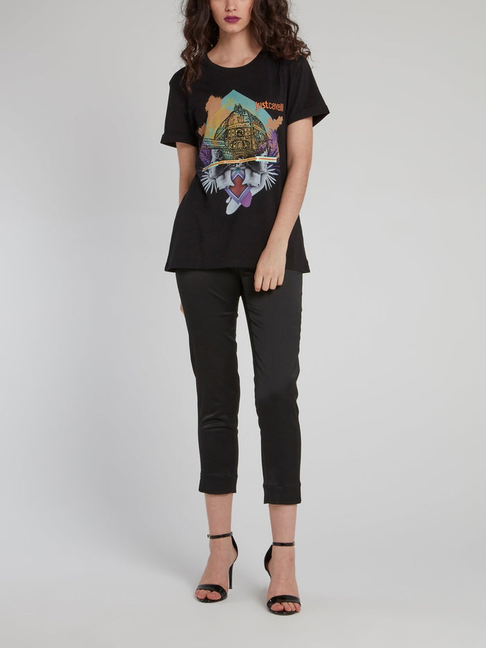 Black Abstract Print Crewneck T-Shirt