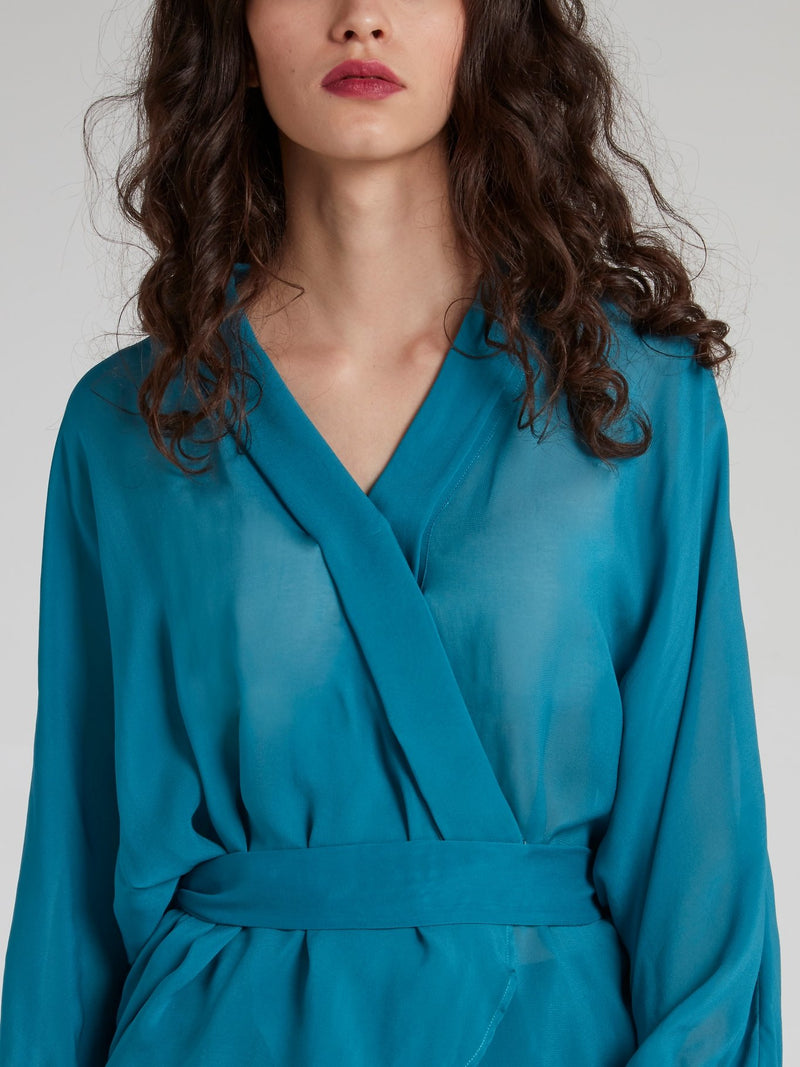 Blue Rear Tie Wrap Top