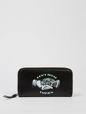 Black Zip Around Silkscreen Gange Wallet