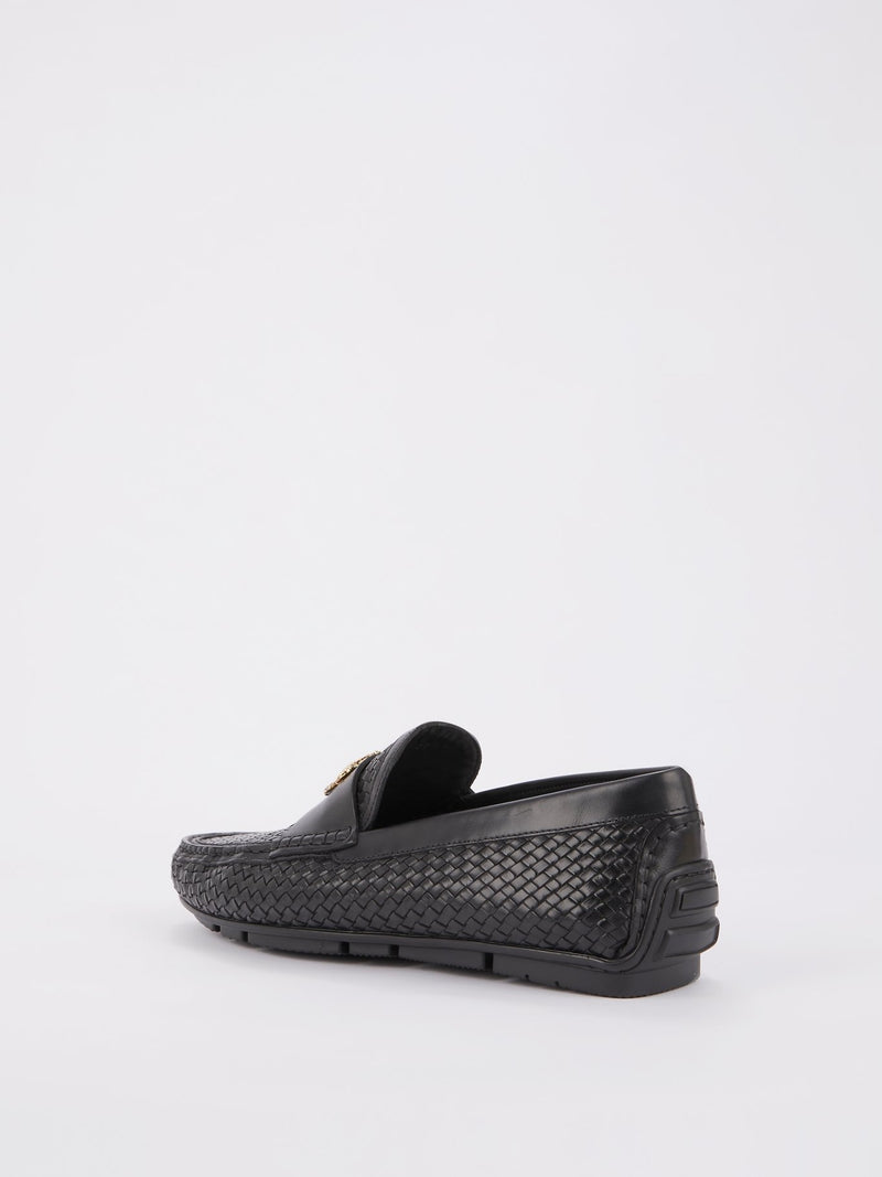 Black Monogram Weave Loafers