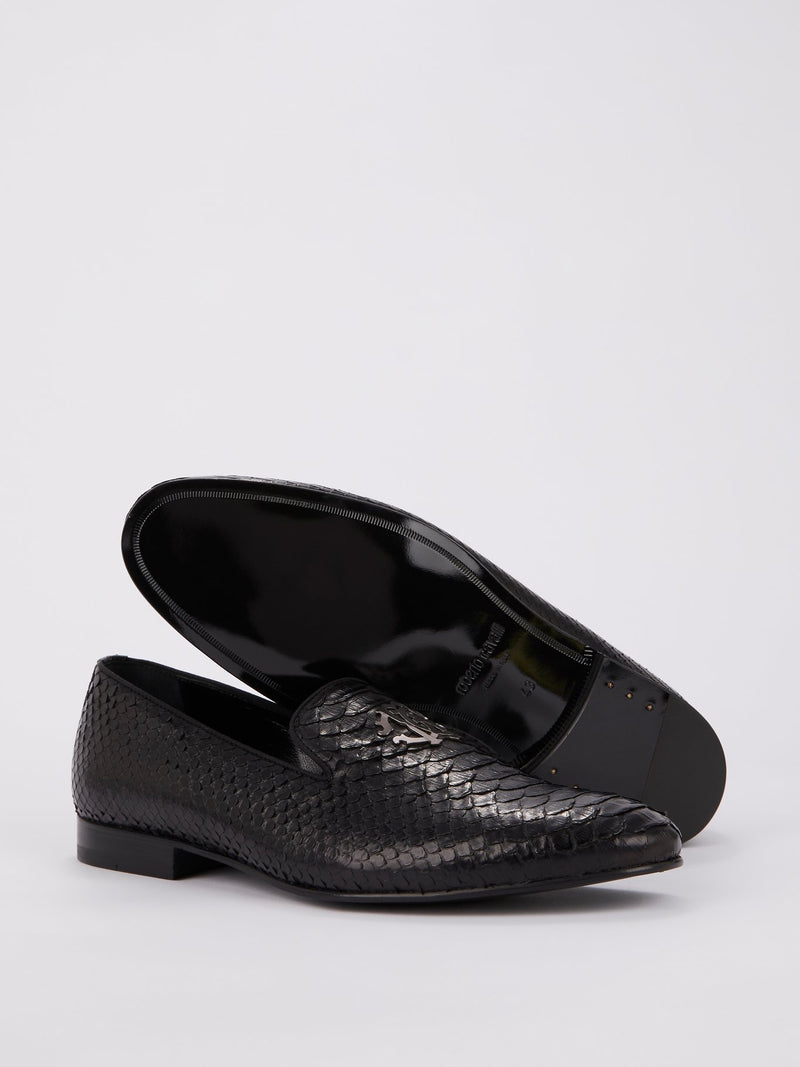 Black Snake Effect Monogram Loafers