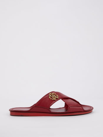 Red Monogram Crisscross Sandals