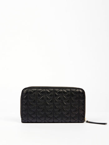 Black Nappa Zip Around Wallet