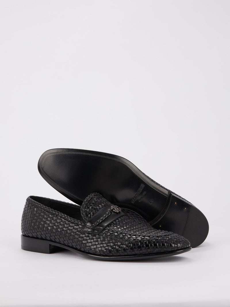 Black Logo Weave Loafers