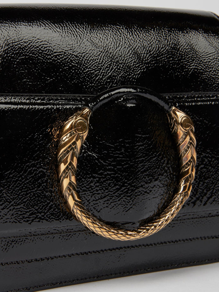 Black Snake Embellished Shoulder Bag