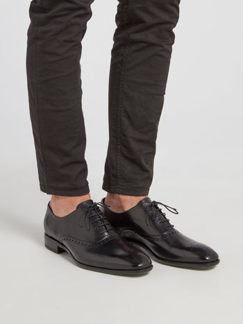 Black Perforated Oxford Shoes