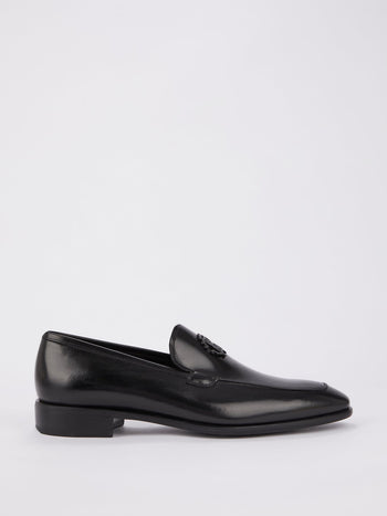 Black Slip On Monogram Brogues