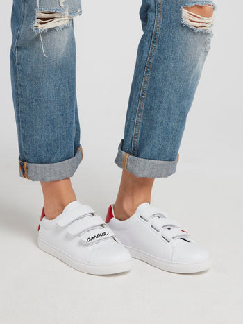 Edith White Multi-Strap Sneakers