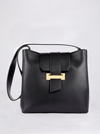 Black Front Flap Shoulder Bag