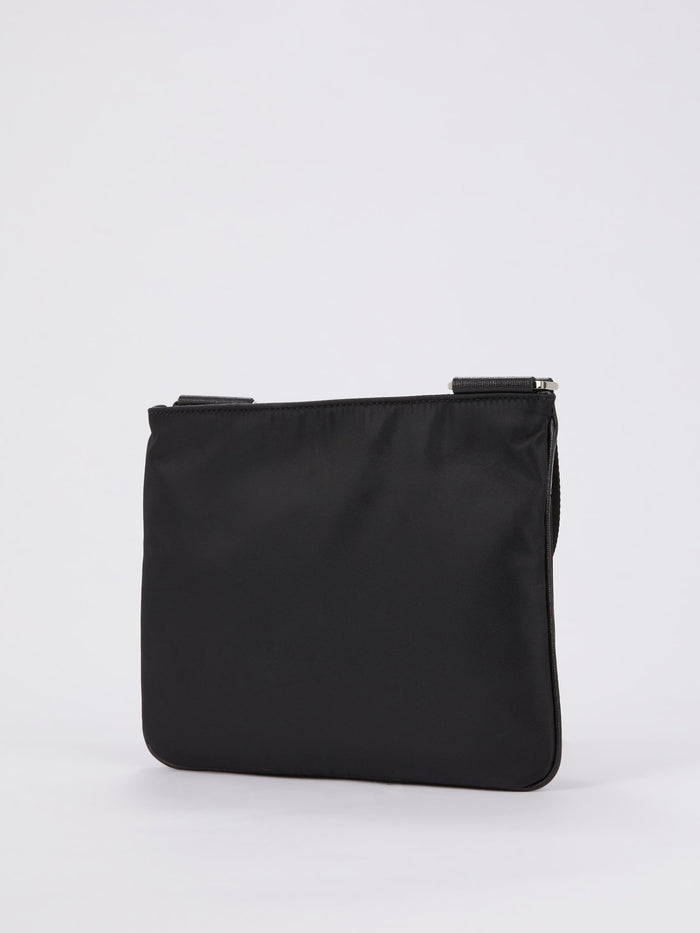 Black Monogram Appliquéd Crossbody Bag