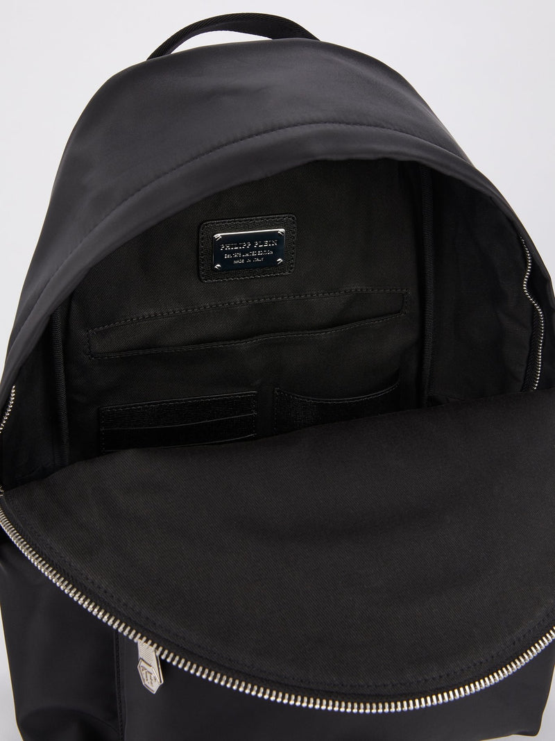 Black Monogram Appliquéd Backpack