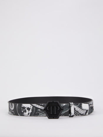 Monogram Buckle Dollar Skull Belt