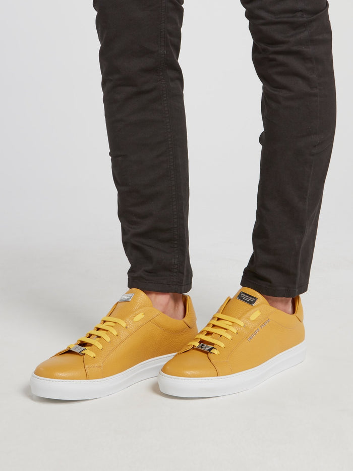 Mustard Low Top Leather Sneakers